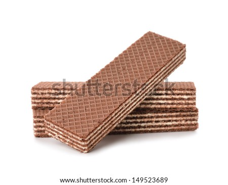 chocolate wafers isolated on white background - stock photo