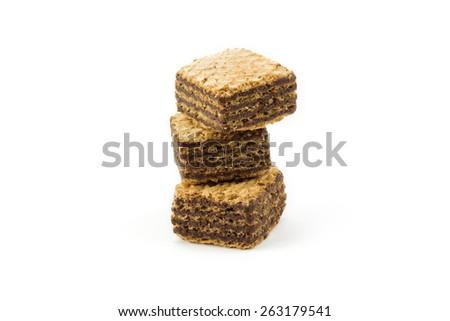 Chocolate wafers isolated on white background - stock photo