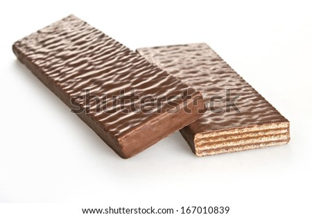 Chocolate waffles on a white background.  - stock photo