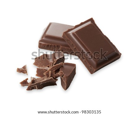 Chocolate was placed on a white background