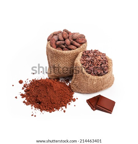Chocolate with cacao, isolated - stock photo