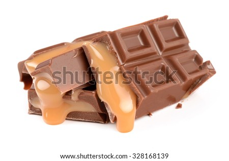 Chocolate with caramel on a white background - stock photo