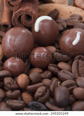 chocolate with coffee beans - stock photo