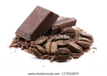 chocolate with coffee on white - stock photo