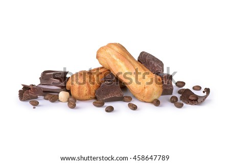chocolate with cookies on white background