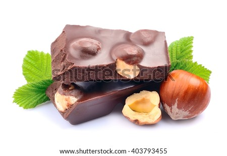 Chocolate with hazelnuts closeup - stock photo