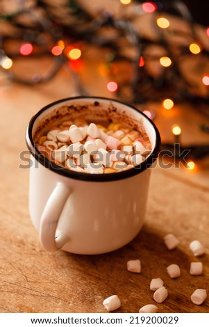 chocolate with marshmallows on table - stock photo