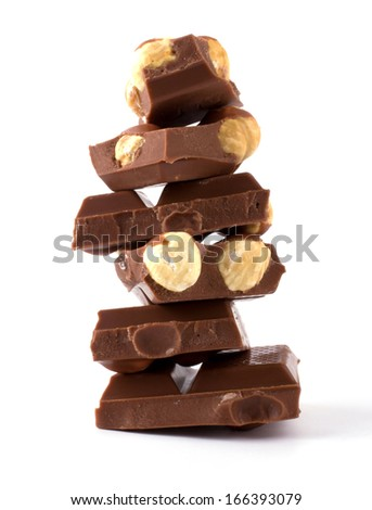 Chocolate with nuts isolated on white background