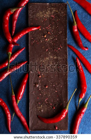 Chocolate with pepper - stock photo