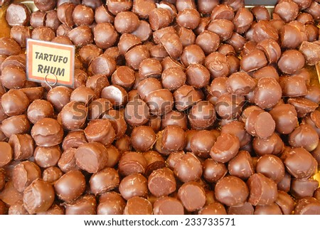 Chocolate with truffles and rum. - stock photo