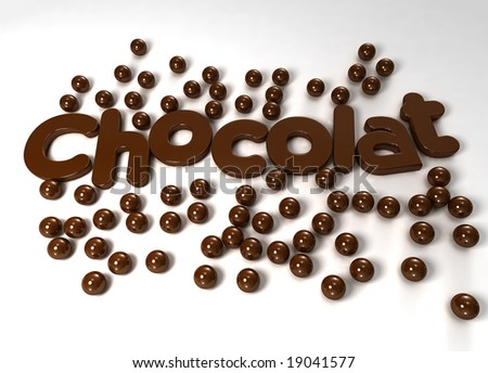Chocolate word and drops in a delicious texture - stock photo