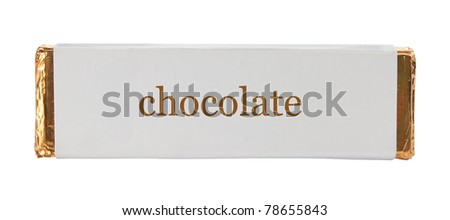 chocolate Wrapping aluminum foil and paper. isolated over white - stock photo