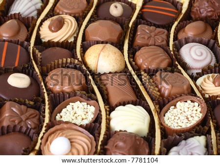 chocolates in a golden box as a gift - stock photo