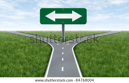 Choice and choosing a direction in life or business using the road metaphor and highway sign with a fork shaped traffic lane showing the concept of dilemma and selecting the right option. - stock photo