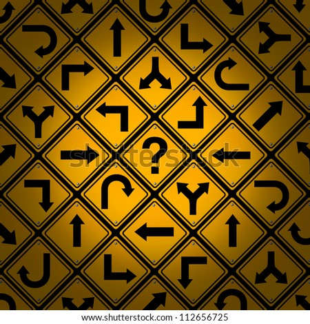 Choice and confusion as a strategy or path in a business or life management concept with confusing different yellow direction street signs pattern as dilemma questions for solutions and success. - stock photo