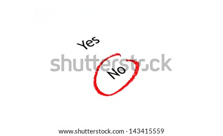 Choice between yes or no, marked no - stock photo