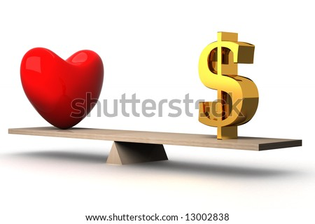choice concept between love and money. 3D image. - stock photo