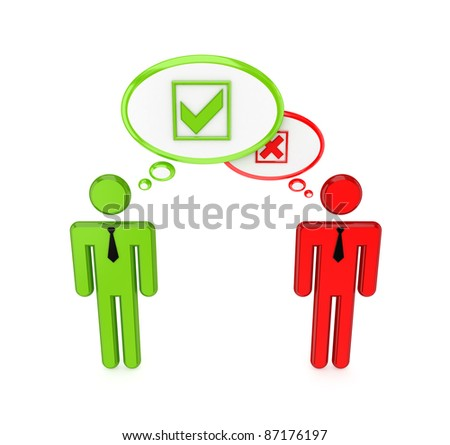 Choice concept. 3d rendered. Isolated on white background. - stock photo
