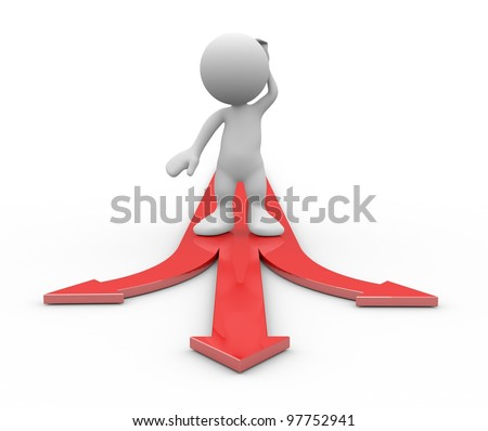 Choice. Concept with 3d human. 3d illustration. - stock photo