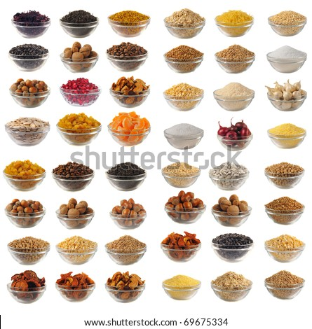 Choice dry food to utensils on a white background - stock photo