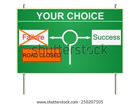 Choice. Green traffic sign on a white background. Raster - stock photo