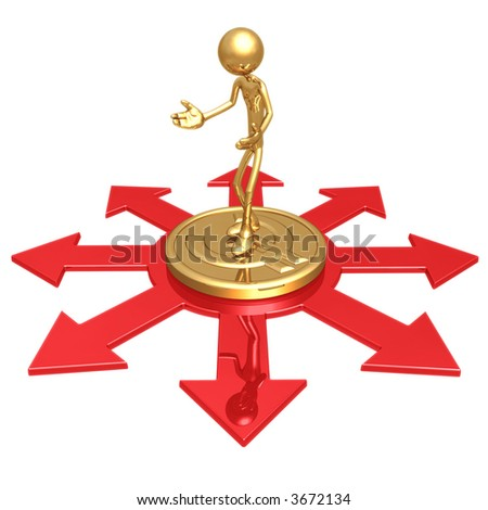 Choice Of Business Direction Standing On Gold Euro Coin - stock photo