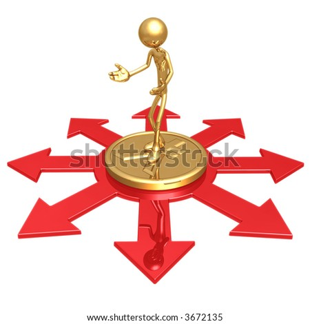 Choice Of Business Direction Standing On Gold Yen Coin - stock photo