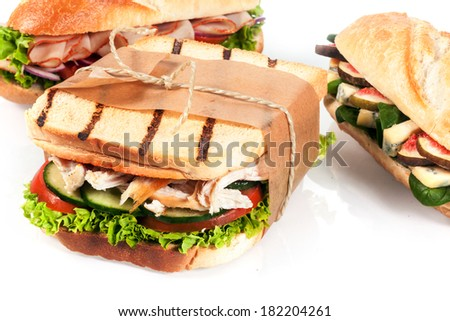 Choice of delicious fresh lunchtime sandwiches served on crusty baguette or grilled toast with chicken and salad or blue cheese and fig fillings, closeup on a white background - stock photo