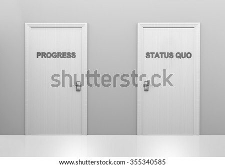Choice of doors for supporting progress or maintaining the status quo - stock photo