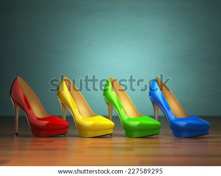 Choice of high heels shoes in different colors on vintage green background. Shopping concept. 3d - stock photo