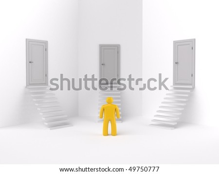 choice of one road ,isolated - stock photo