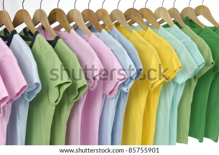 Choice of row of colorful shirt rack -closeup