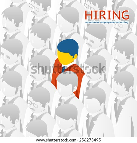 Choice of the person from the crowd for hiring. Illustration. Recruitment, selection - stock photo