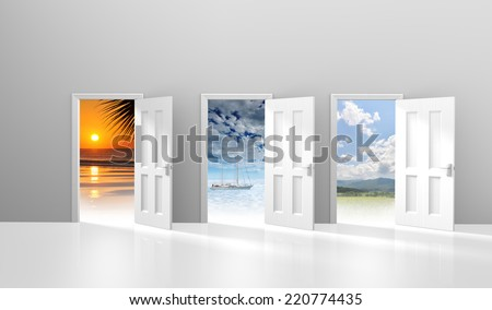 Choice of three doors opening to possible vacation or getaway destinations - stock photo