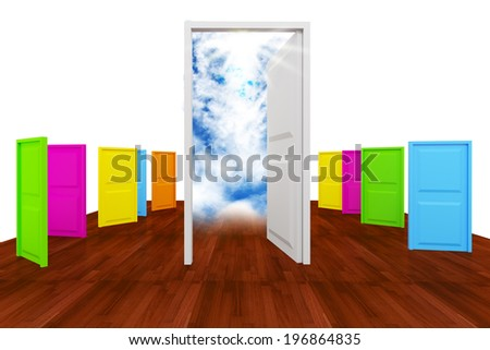 Choice with multi color door to success on wood floor - stock photo