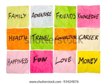 Choices and options outlined in this life matrix - stock photo