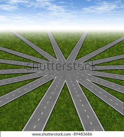 Choices and strategies symbol represented by a network of roads and highways merging to a center point as many options and paths available with multiple paths to a unified strategy. - stock photo