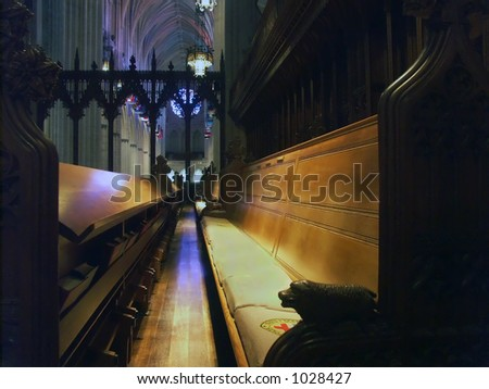 Choir pew in the National Cathedral - stock photo