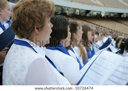 Choir singing - stock photo