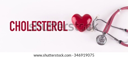 CHOLESTEROL concept with stethoscope and heart shape - stock photo