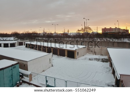 Chomutov, Ustecky kraj, Czech republic - January 07, 2017: garages and road number 13 in the morning after snowfall