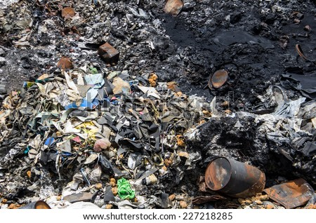 Chon Buri, THAILAND - March 30, 2013: Toxic and chemical waste was found illegally dumped in MABPAI area, Ban Bueng district, Chon Buri Province.