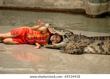 CHONBURI - DECEMBER 5: A girl is performing a show with a live crocodile on December 5, 2010 in Sriracha Zoo, Chonburi, Thailand - stock photo