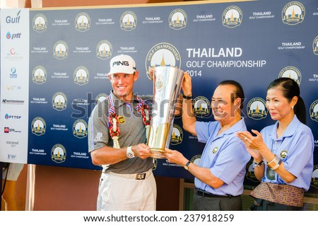 CHONBURI - DECEMBER 14 : Lee Westwood of England is winner in Thailand Golf Championship 2014 (tournament on the Asian Tour) at Amata Spring Country Club on December 14, 2014 in Chonburi, Thailand. - stock photo