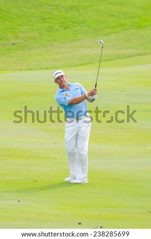 CHONBURI - DECEMBER 13 : Lee Westwood of England player in Thailand Golf Championship 2014 (Tournament on the Asian Tour) at Amata Spring Country Club on December 13, 2014 in Chonburi, Thailand. - stock photo