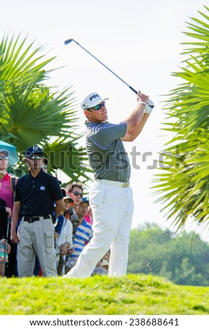 CHONBURI - DECEMBER 14 : Lee Westwood of England player in Thailand Golf Championship 2014 (Tournament on the Asian Tour) at Amata Spring Country Club on December 14, 2014 in Chonburi, Thailand. - stock photo