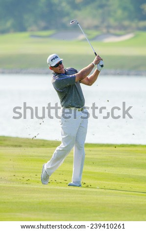 CHONBURI - DECEMBER 14 : Lee Westwood of England player in Thailand Golf Championship 2014 at Amata Spring Country Club on December 14, 2014 in Chonburi, Thailand. - stock photo