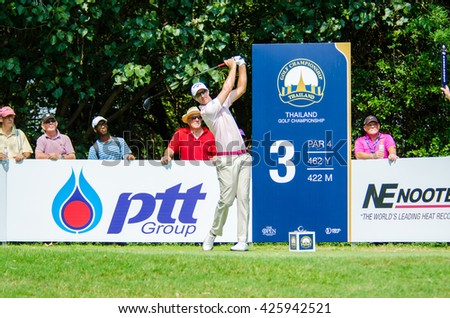 CHONBURI - DECEMBER 10 : Nicolas Colsaerts of Belgium player in Thailand Golf Championship 2015 (Tournament on the Asian Tour) at Amata Spring Country Club on December 10, 2015 in Chonburi, Thailand. - stock photo