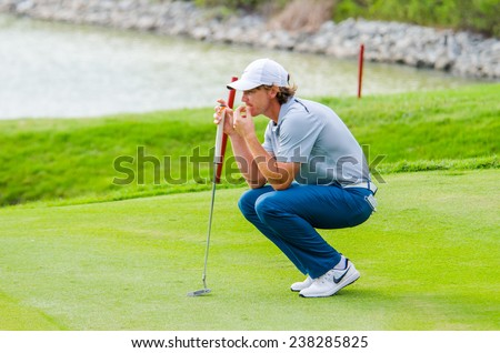 CHONBURI - DECEMBER 13 : Tommy Fleetwood of England player in Thailand Golf Championship 2014 (Tournament on the Asian Tour) at Amata Spring Country Club on December 13, 2014 in Chonburi, Thailand. - stock photo