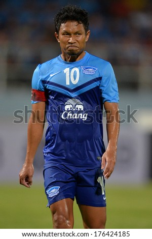 CHONBURI-FEB 9,2014: Pipob Onmo (blue) player of Chonburi FC in action during football AFC Champions League 2014 between Chonburi FC and South China at Chonburi Stadium on February 9,2014 in Thailand